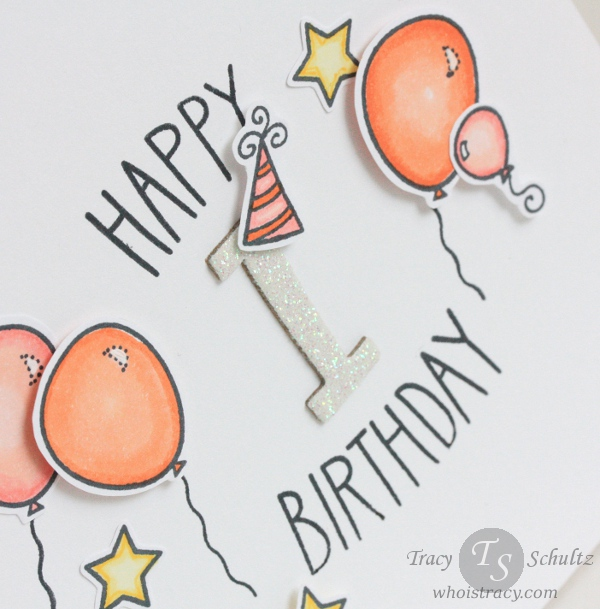 Balloon Birthday card close-up by Tracy Schultz @whoistracy.com