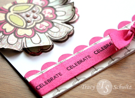 Stamped ribbon close-up
