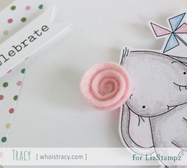 Happy Elephant birthday card close-up by Tracy Schultz @ whoistracy.com