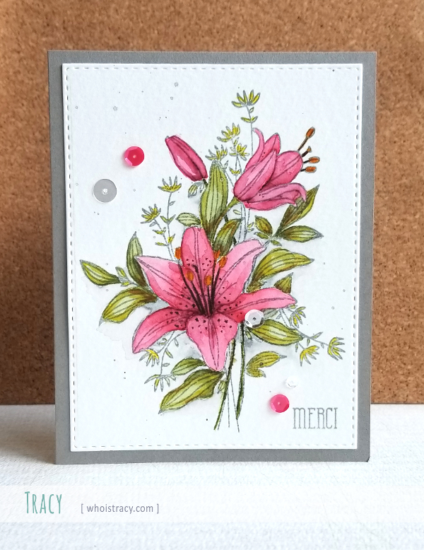 Merci floral watercolor card by Tracy @whoistracy.com