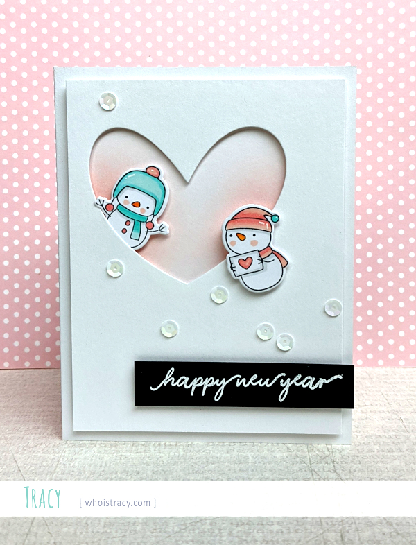 New Year Snowmen card by Tracy @whoistracy.com