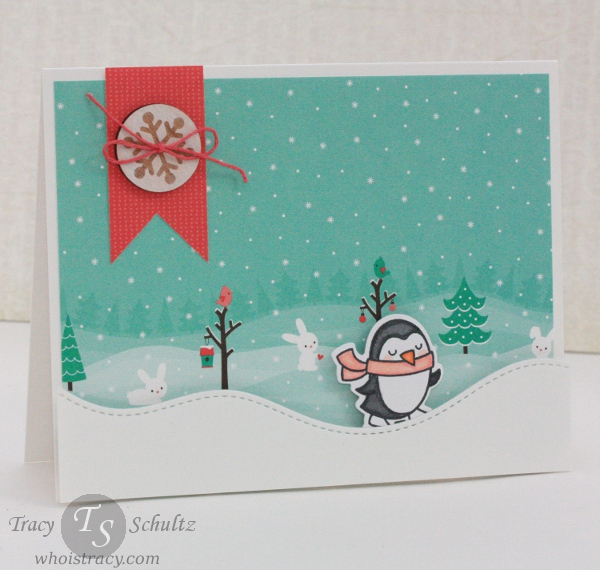 Penguin Scene winter card by Tracy Schultz @whoistracy.com