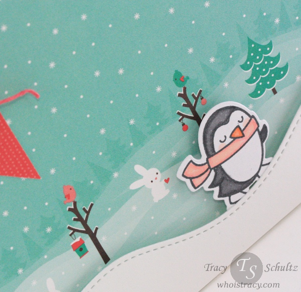 Penguin Scene winter card close-up by Tracy Schultz @whoistracy.com