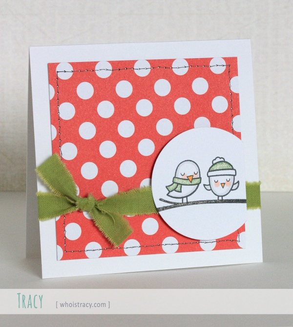 Polka Dot Birds winter holiday card by Tracy Schultz @whoistracy.com