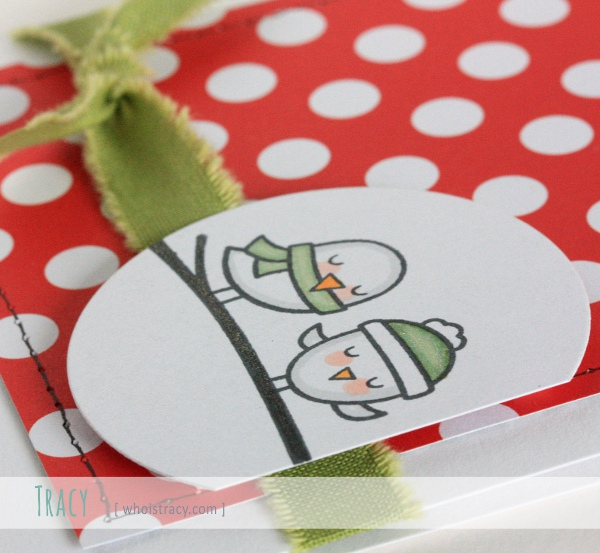 Polka Dot Birds winter holiday card close-up by Tracy Schultz @whoistracy.com