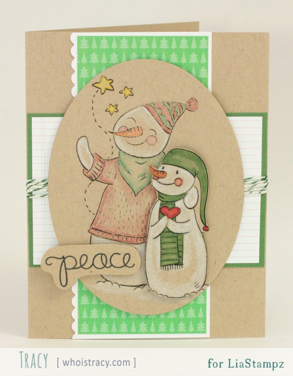 Snowmen Peace holiday/winter card by Tracy Schultz @whoistracy.com