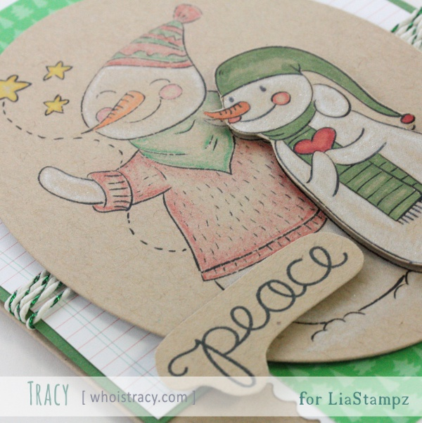 Snowmen Peace holiday/winter card close-up by Tracy Schultz @whoistracy.com