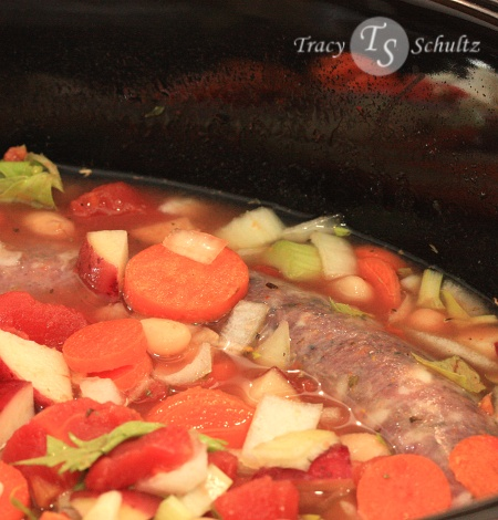 Kielbasa Stew in the crockpot